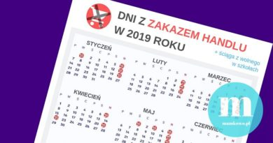 47 dni bez handlu w 2019 r. [kalendarz ze ściągą z wolnego w szkołach do pobrania!]